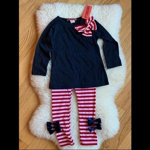 Toddler Girl 2 piece set with bows 3T